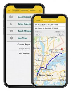 Falcon Expenses Home Screen and Addresses Mileage Expense Entry Screen